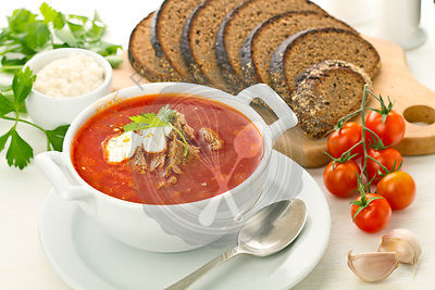 Ukrainian and russian national red borsch soup