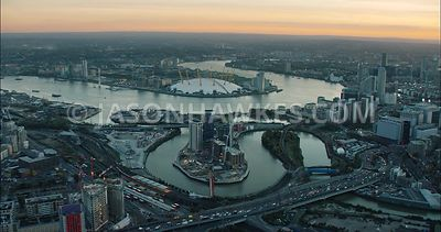 London Aerial Footage of London City Island.