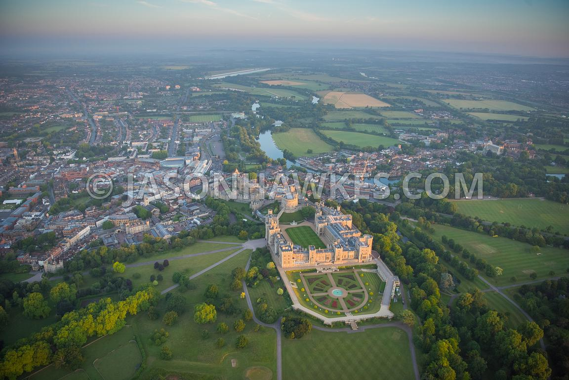 Aerial view of Windsor Castle and Windsor Great Park.