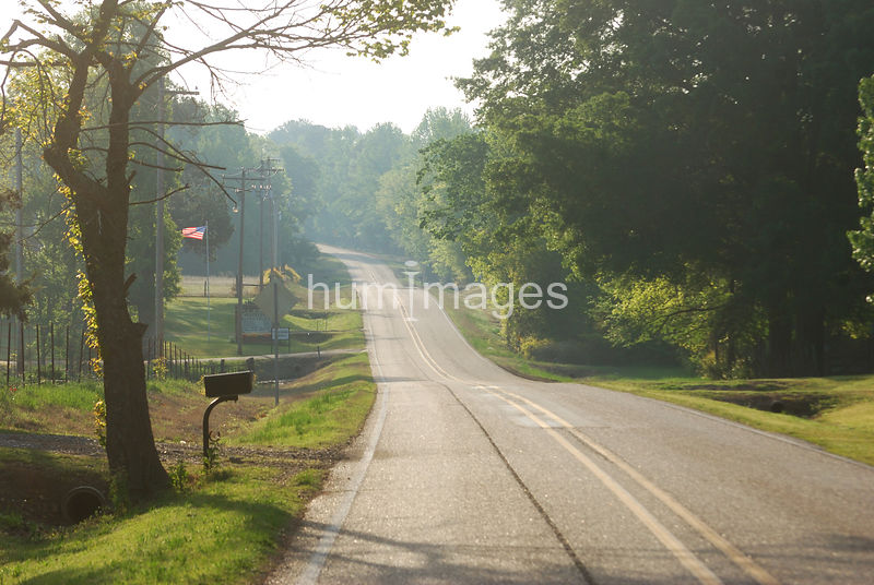 Country road in rural Arkansas early morning