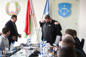 during the Final Tournament - Final Four - SEHA - Gazprom league, Meeting with the mayor of Brest in Brest, Belarus, 08.04.2...