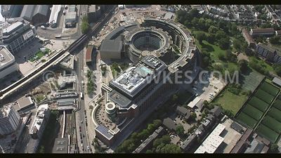 Aerial footage of Television Centre, White City‎, London.