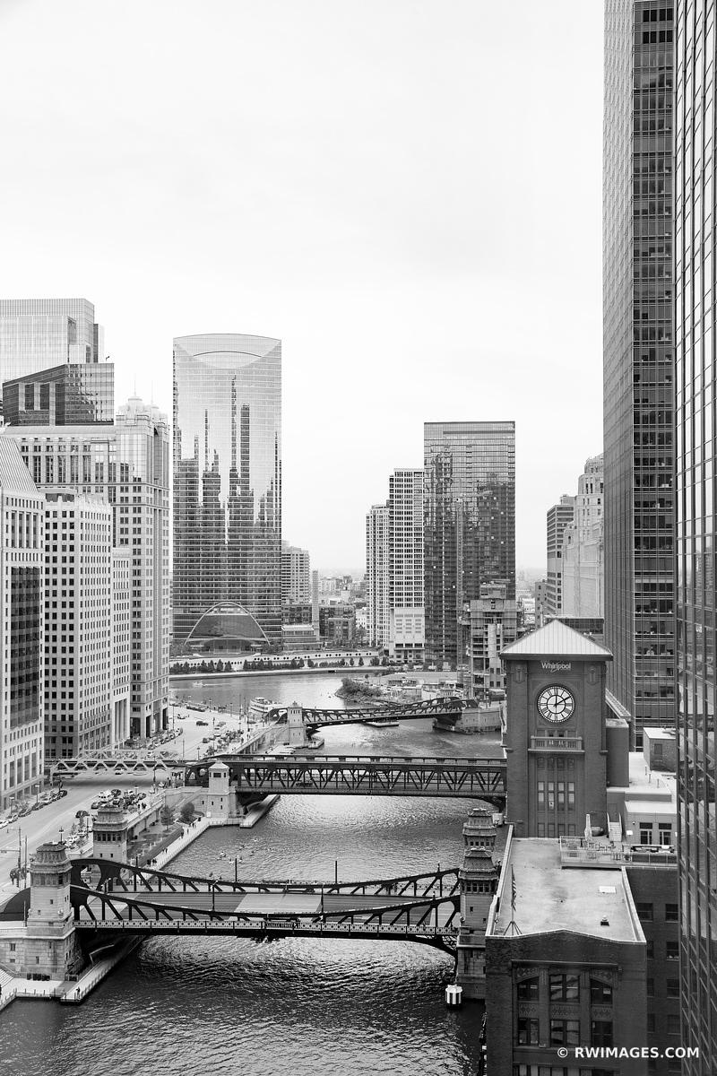 CHICAGO RIVER DOWNTOWN CHICAGO BLACK AND WHITE VERTICAL