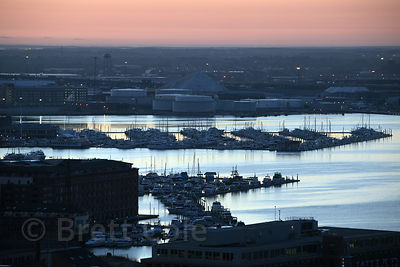Aerial view of boats at dusk in the Inner Harbor, Baltimore, Maryland