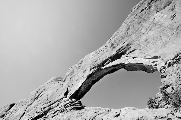 NORTH WINDOW ARCHES NATIONAL PARK UTAH BLACK AND WHITE