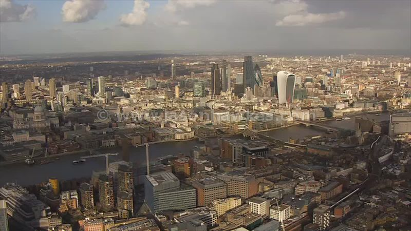 Aerial footage of Southwark and the City of London