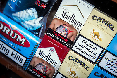 Cigarettes with graphic warning labels for sale at a market, Badi Basti, Pushkar, Rajasthan, India. Tobacco and smoking are e...
