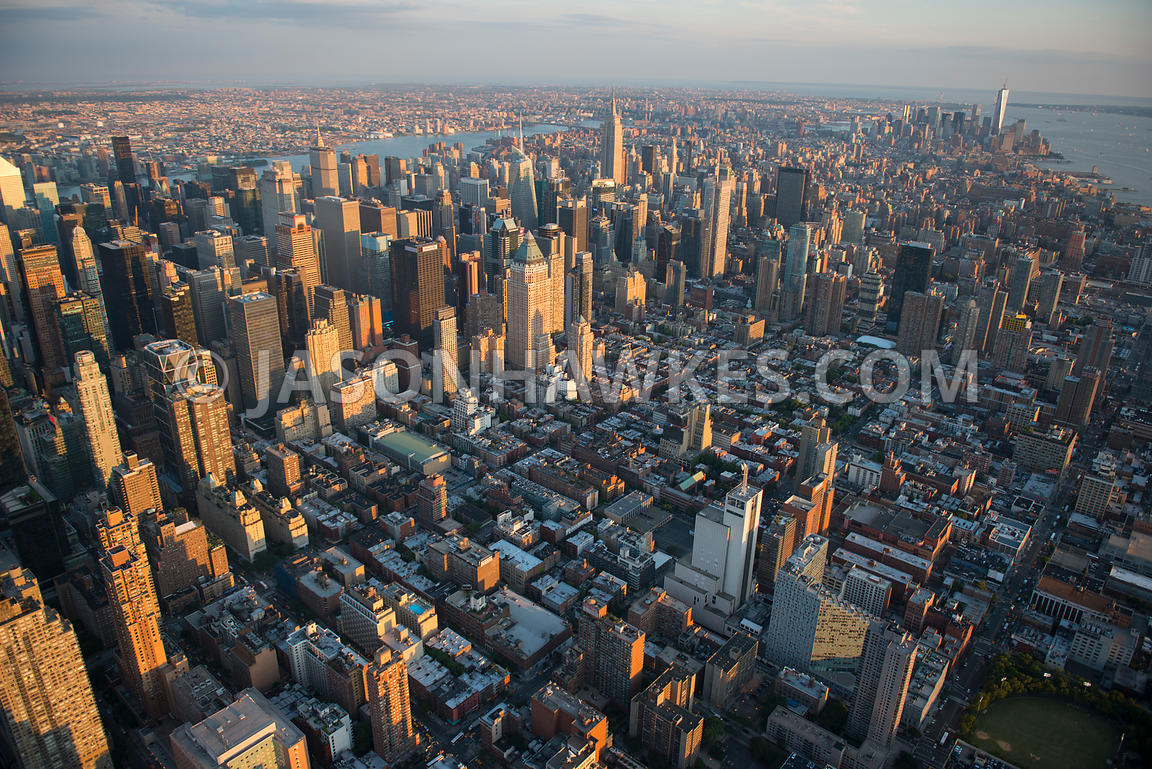 Aerial view of Hell's Kitchen and Midtown, New York