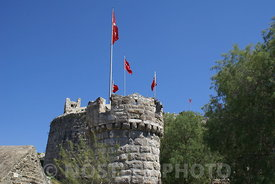 The flag waves in the Bodrum Harbour
