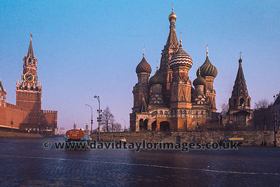 Cleaning in front of St Basil's | Red Square Moscow | March 1976