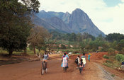 town at the base of the Mulanje Massif, Malawi