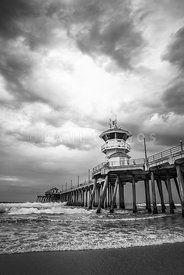 Huntington Pier Storm Clouds Black and White Photo