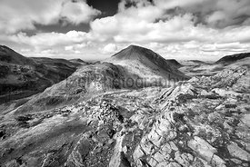 Black and white image of the summit of High Crag, Ennerdale valley and Buttermere from the mountain summit of Hay Stacks in t...