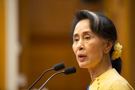 Aung San Suu Kyi of Myanmar adresses a European Parliamentary Forum conference on Migration and Gender Equality at the Chamber of Deputies in Rome, , Rome, Italy, 4, May, 2017