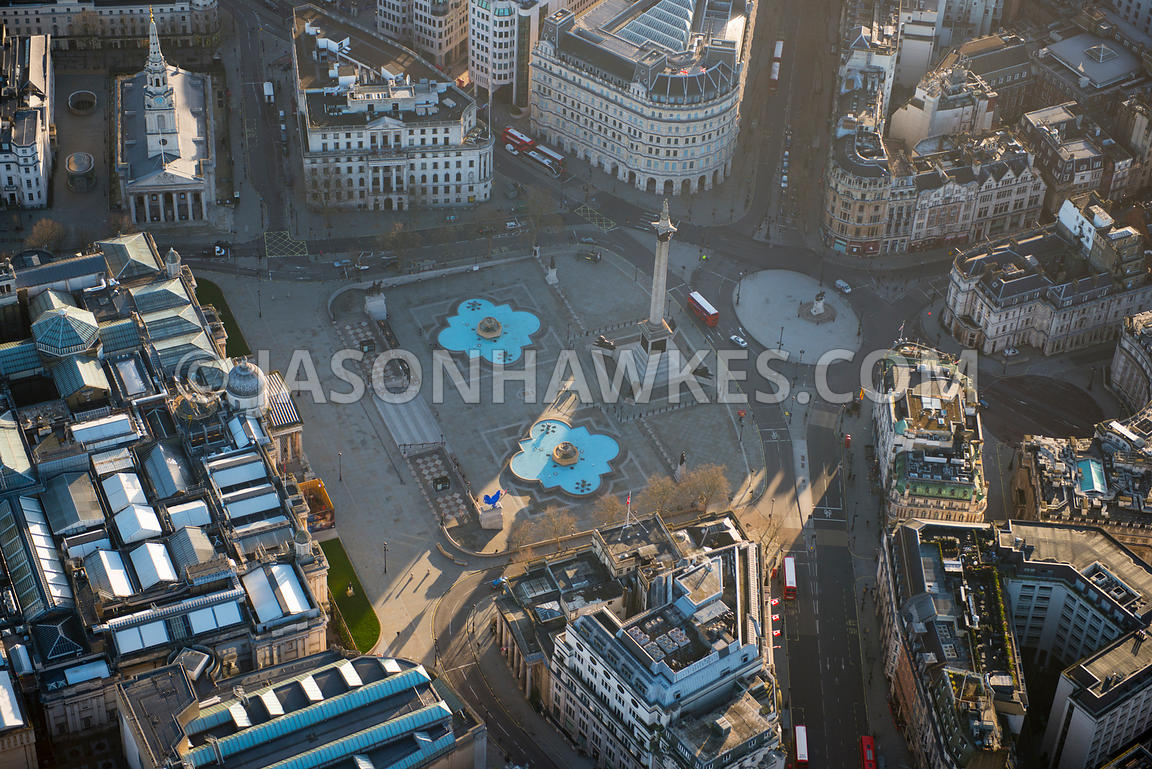 Aerial view of Trafalgar Square, London