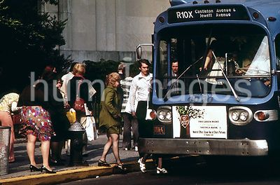 Boarding a Bus in the Finance District of Lower Manhattan May 1973