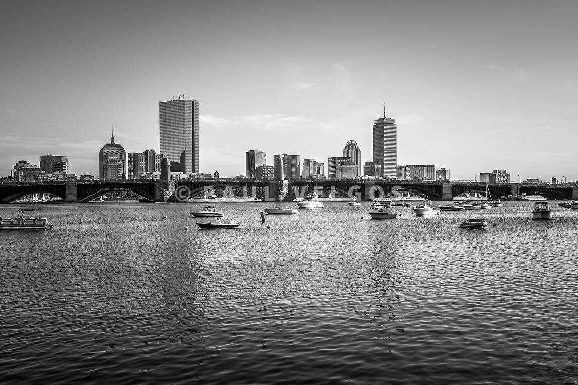 Boston Skyline Black and White Photo