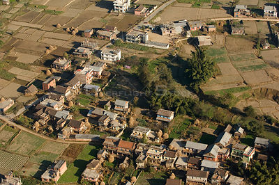 Aerial view of houses and agricultural fields, Himalayan foothills, Nepal, November 2007