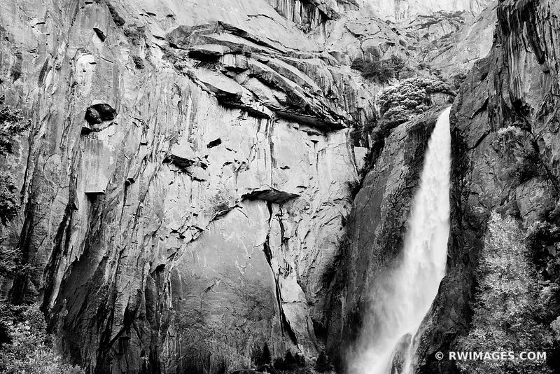 LOWER YOSEMITE FALLS YOSEMITE NATIONAL PARK CALIFORNIA BLACK AND WHITE