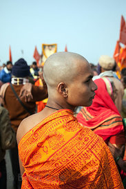 Pilgrims on the beach at the Gangasagar Mela, Sagar Island, India.