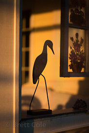 Statue of a heron in a house on the Chesapeake Bay at sunrise, Maryland