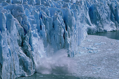 Ice calving from the Perito Moreno glacier,  Los Glaciares National Park, Patagonia, Argentina, October 2006.