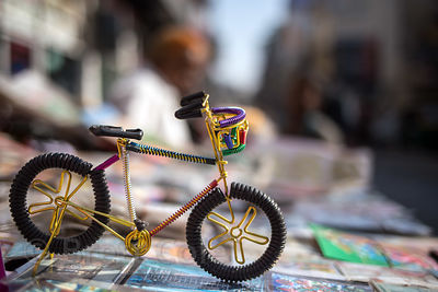 Small bicycle model handmade from wire at a market in Paharganj, Delhi, India