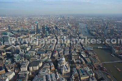 Aerial view over River Thames, St Pauls and City of London
