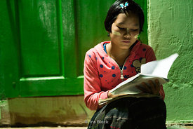 A student studying at Htet Evian Cave Monastic Education School near Nyaungshwe, Myanmar.