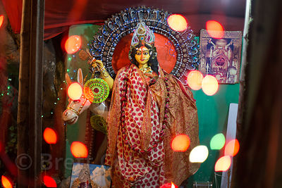 Hindu idol and lights during the Durga Puja festival, Dhakuria, Kolkata, India