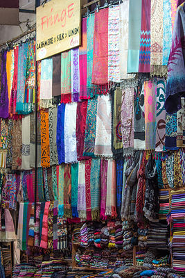 Cashmere, silk and linen in the Grand Bazaar, Istanbul