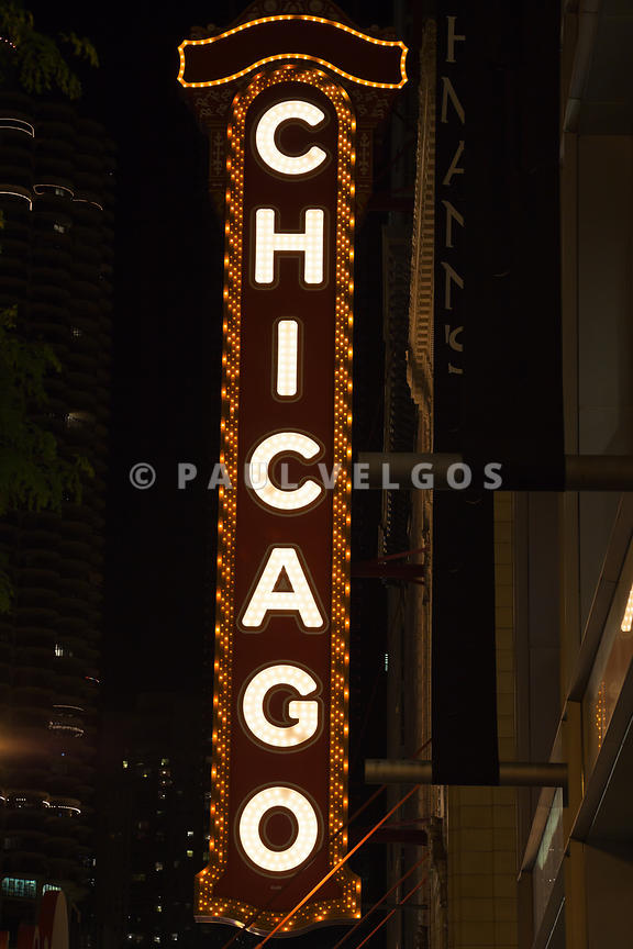 Chicago Theatre Sign at Night