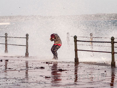getting wet on Penzance Promenade