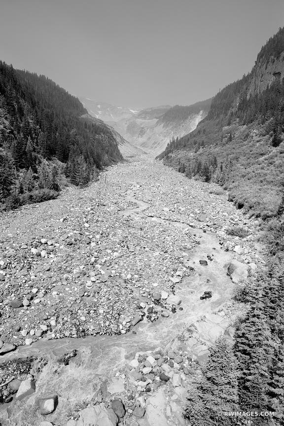 NISQUALLY RIVER MOUNT RAINIER NATIONAL PARK WASHINGTON BLACK AND WHITE VERTICAL