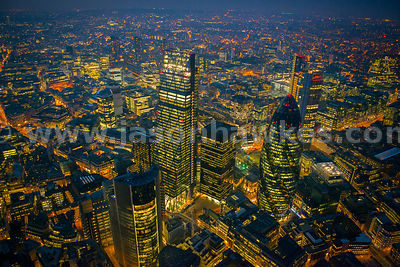 Aerial view of the Leadenhall Building at night, London