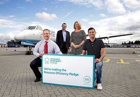 Glasgow Airport.14.7.15.Zero Waste Scotland announce the changes which Glasgow Airport has made since making a Resource Efficiency Pledge, an initiative run by Zero Waste Scotland.  This includes increasing their recycling rate to over 90 percent and introducing more energy efficient measures...In the photograph:..-          Iain Gulland, Chief Executive, Zero Waste Scotland (glasses, beard),.-          Kevin Sinclair, Sustainability Assurance Manager, Glasgow Airport (purple shirt),.-          Victoria McDowell, Commercial Manager, Glasgow Airport,.- Steven Rea, Kitchen Manager at Wetherspoons (short sleeved shirt)..Free Use for Zero Waste Scotland..More info from:.Chloe Bellany | PR Officer | Zero Waste Scotland.Direct 01786 239764 | Mobile 07540 517127 | Reception 01786 433930.Email: chloe.bellany@zerowastescotland.org.uk  ..Picture Copyright:.Iain McLean,.79 Earlspark Avenue,.Glasgow.G43 2HE.07901 604 365.photomclean@googlemail.com.www.iainmclean.com.All Rights Reserved.No Syndication