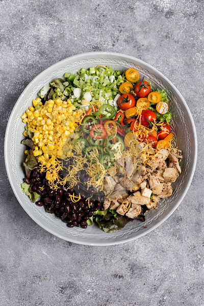 A large bowl of Southwestern Chicken Salad with Creamy Avocado Dressing