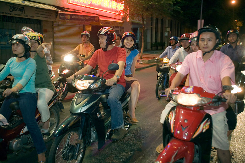 People on motorbikes in Ho Chi Minh City, Vietnam