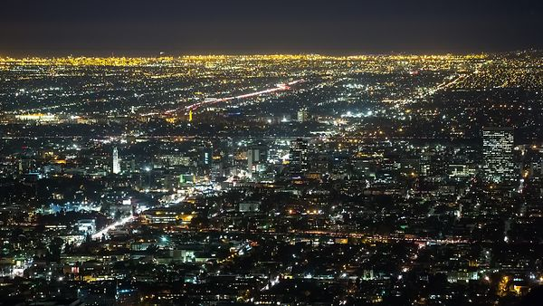 Bird's Eye: Hollywood's Corridor Amongst Streets, Blocks, & City Lights of L.A.