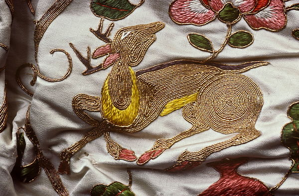 Chinese gold embroidery on silk