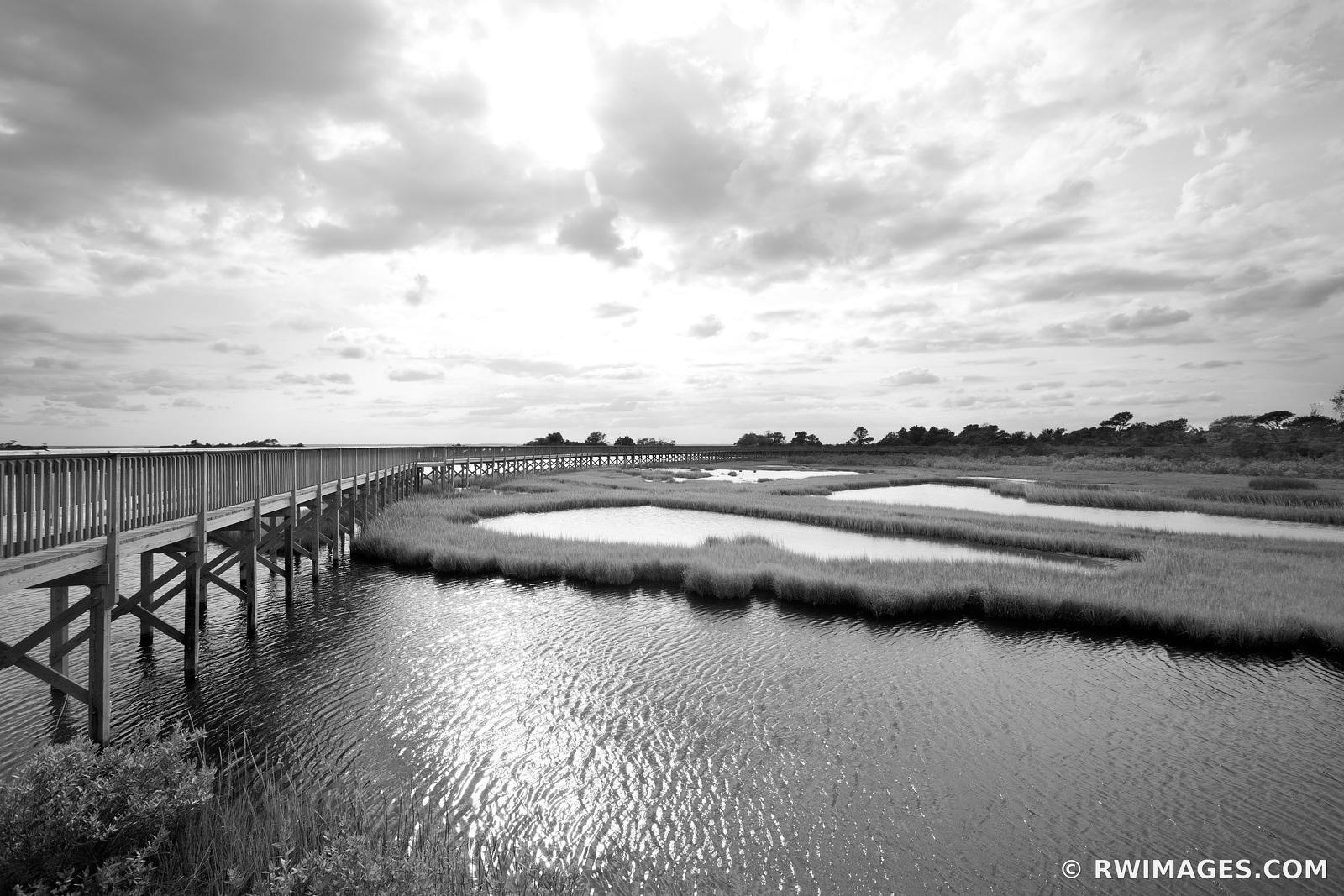CHINCOTEAGUE BAY SUNSET ASSATEAGUE ISLAND NATIONAL SEASHORE MARYLAND BAYSIDE BLACK AND WHITE