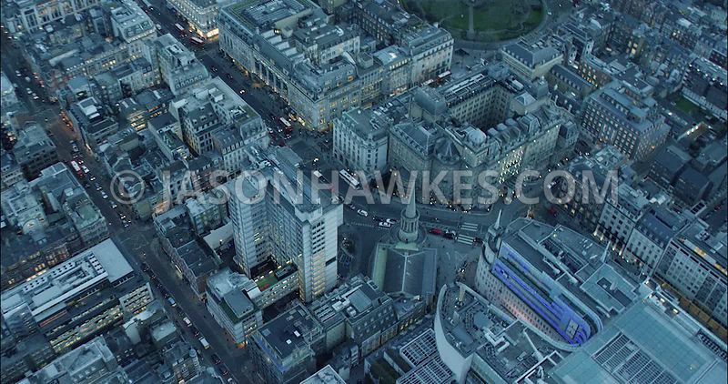 London Aerial Footage of Portland Place towards Oxford Circus.