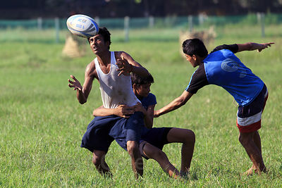 Rugby game on the Maidan (Central Park), Kolkata, India