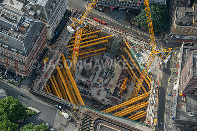Aerial view of London, construction of hotel and cinema in Leicester Square.