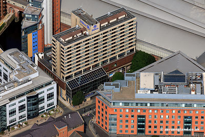 aerial photograph of  The Hilton Leeds City hotel , Leeds, Yorkshire UK
