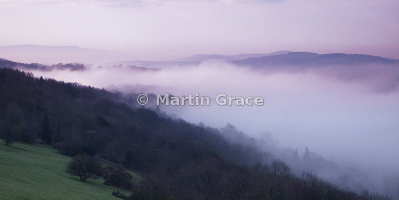 Early morning mist in springtime, Lyth Valley, Cumbria, England