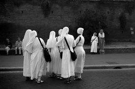 Nuns on holiday in Rome enjoying themselves.