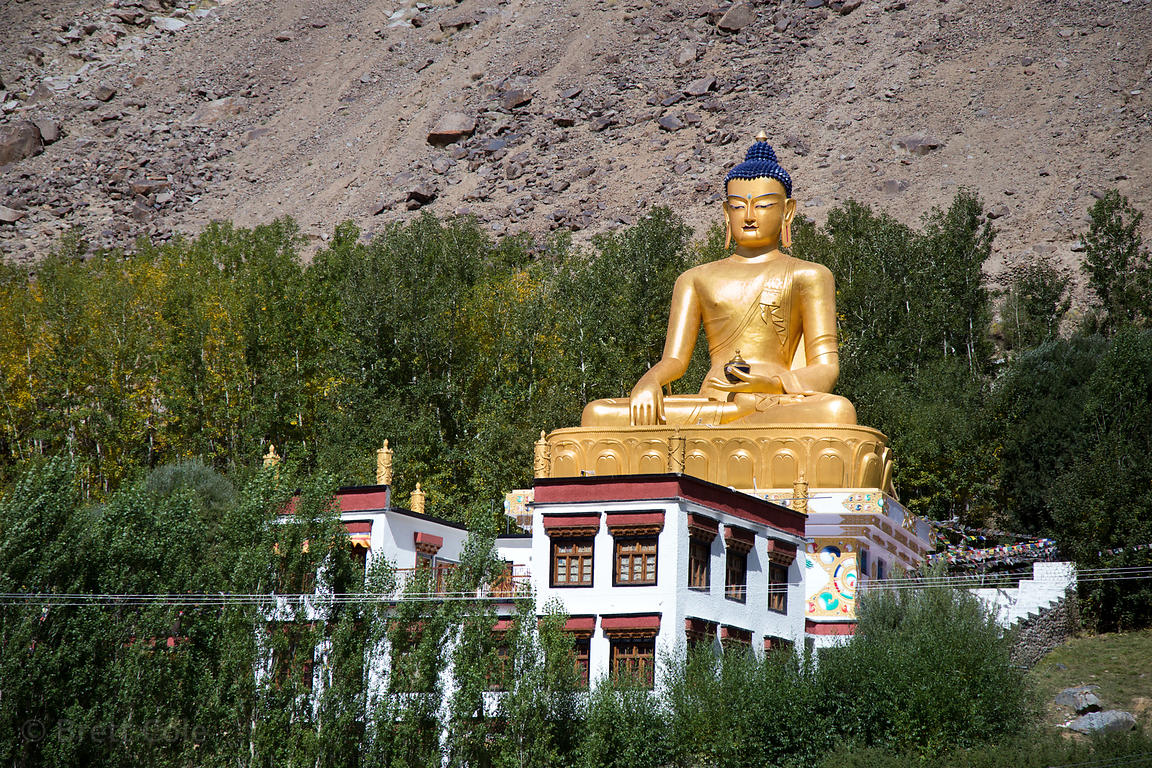80 foot tall golden Buddha statue in Ney Village, 40km from Leh, Ladakh, India