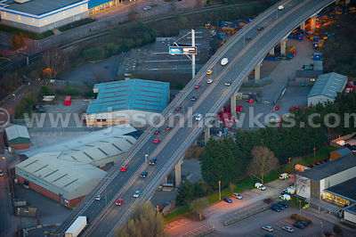 Aerial view of dual carriageway at dusk, Bristol