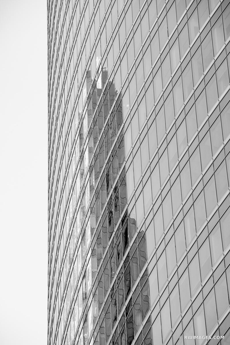 REFLECTION MODERN ARCHITECTURE CHICAGO ILLINOIS BLACK AND WHITE VERTICAL